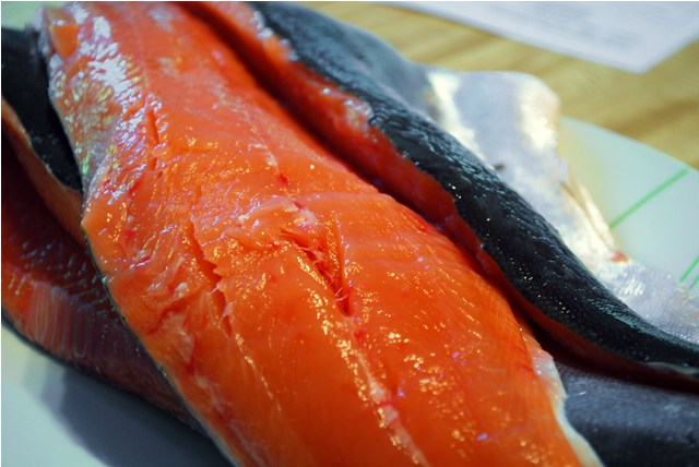 Deboned and filleted salmon