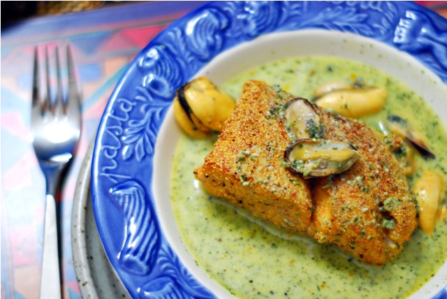 Cornmeal Crusted Salmon with Basil Mussel Broth