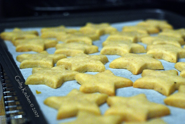 Eggnog Shortbread stars dipped in white chocolate