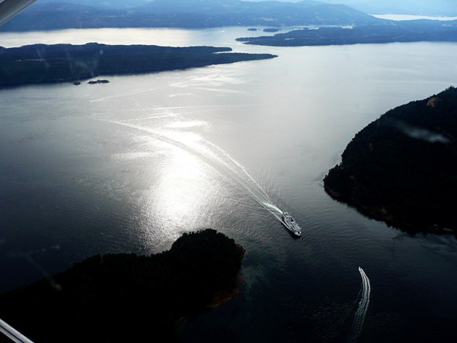 Bird's Eye view of Active Pass and BC Ferries