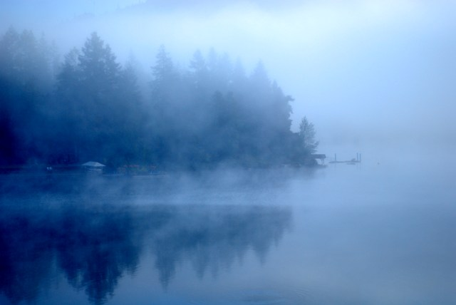 Fog on the lake, early morning