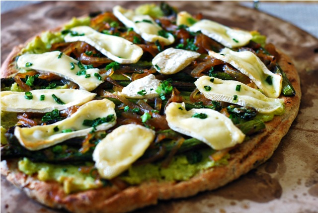 Butter Bean Hummus Flatbread with Asparagus, Brie and Caramelized Onions