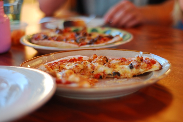 Seafood pizza at Merridale Cidery