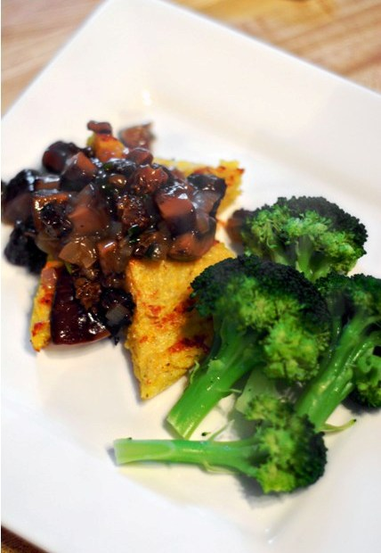 Baked polenta with morels and shiitake sauce