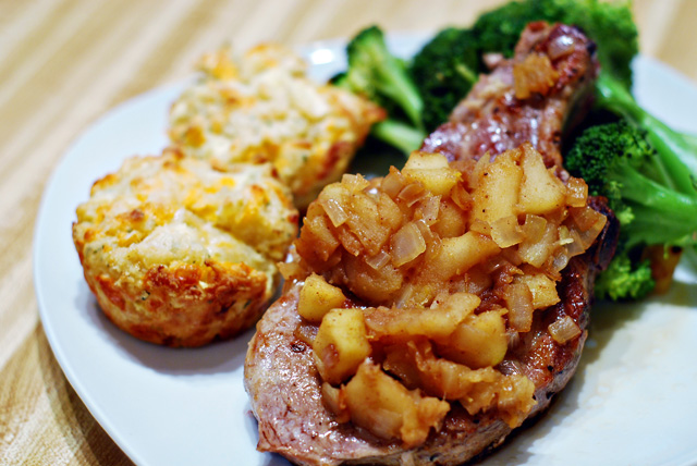 Pork Chops, Apple Compote and Apple, Cheddar Biscuits with  Rosemary