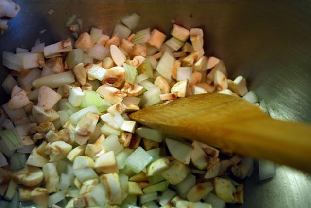 Sauteing the veg