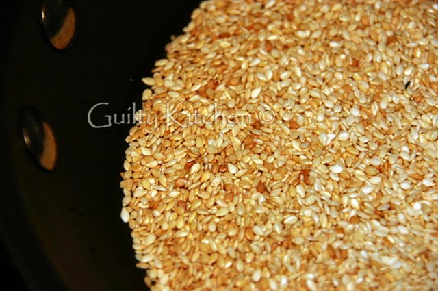 Sesame seeds roasting for Parmesan Sesame Twists