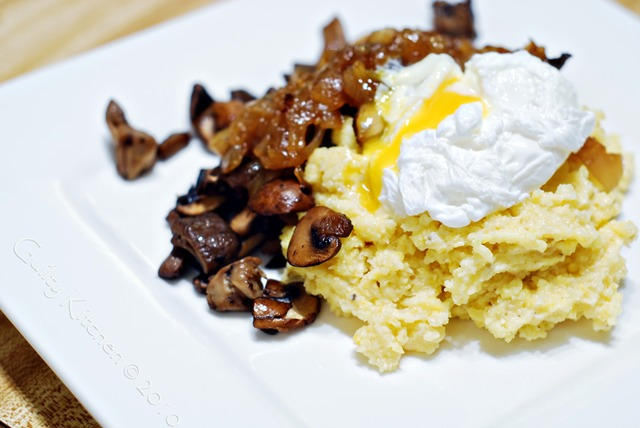 Soft Polenta, Caramelized Onions, Mushrooms and a Poached Egg