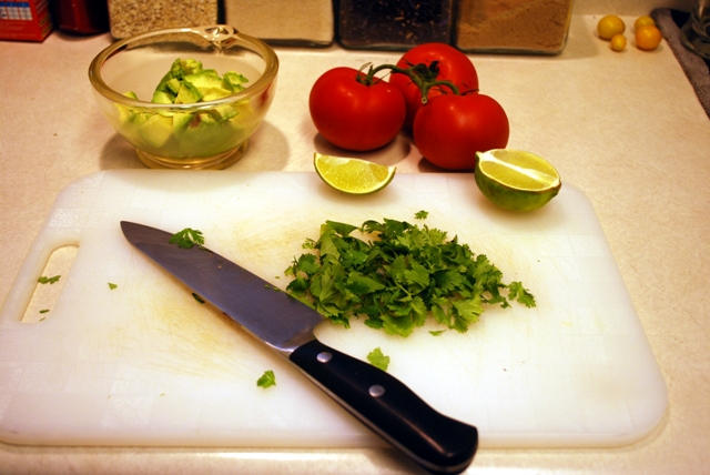 Assembling the salsa ingredients...