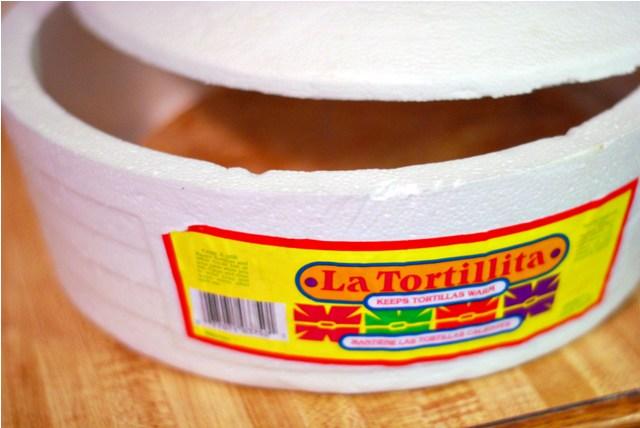 Styrofoam tortilla warmer from Mexico
