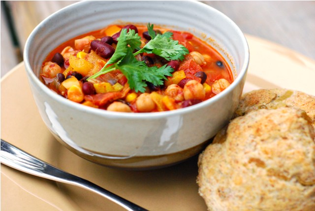 Vegetarian Chili and sourdough biscuits