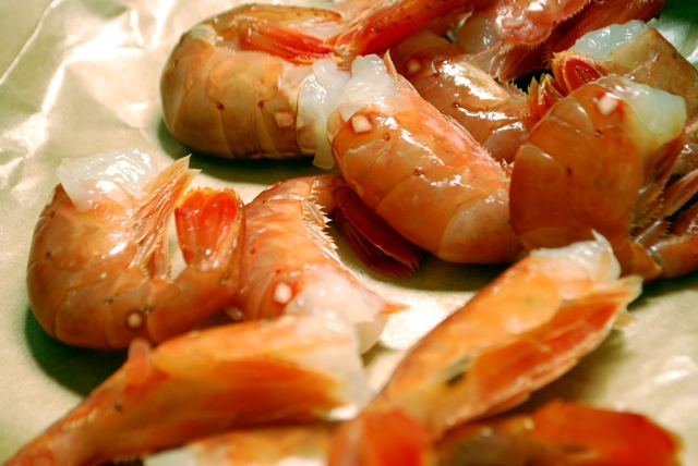 Prawns before marinating