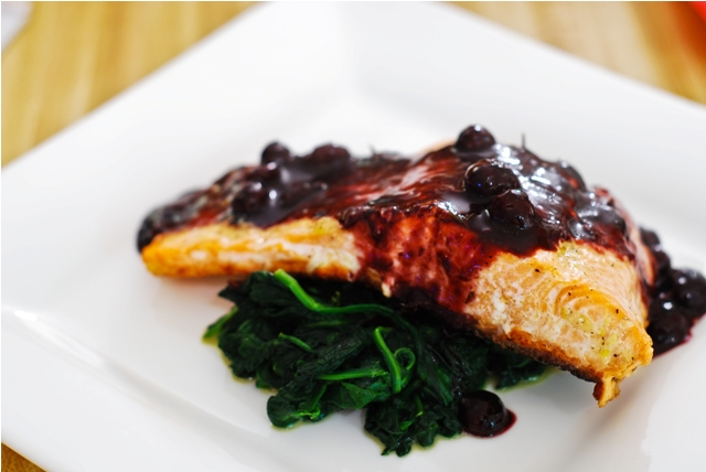 Repost - Baked Salmon with Blueberry Sauce
