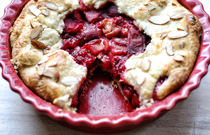 Almond, Plum And Peach Pie Recipe — Dishmaps