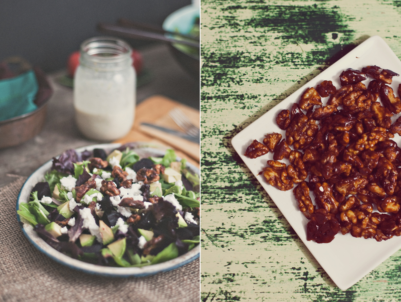 Beet and Candied Walnut Salad Diptych 1-2