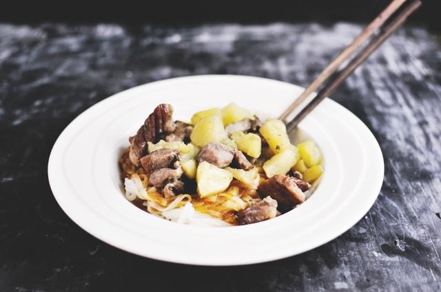 Roasted Apple Pork Noodle Bowls